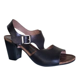 Leather sandal comfort heels